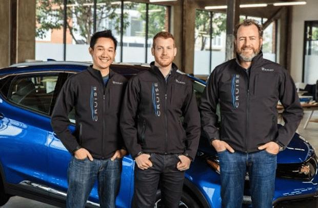 General Motors President Dan Ammann (rechts) mit Cruise Automation-Mitgründer Kyle Vogt (Mitte) und Daniel Kan (links). Foto: Opel Deutschland/GM Advanced Technology Communications