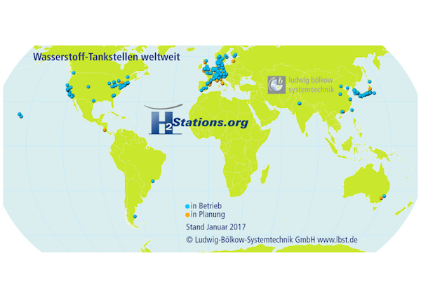 Photo of Weltweit 92 neue Wasserstoff-Tankstellen im Jahr 2016